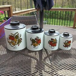 Vintage Ransburg Garden Canisters Set Of Four -usa
