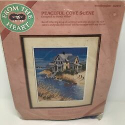 Vintage From The Heart Peaceful Cove Scene Crosstitch Kit Frame Nancy Miller