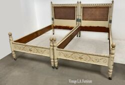 Pair Of Vintage Twin Headboards Bed Frames French Country Hand Painted Cane