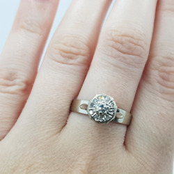 18ct 4.2gr White Gold 0.32ct Tdw Diamond Cluster Ring Val 2950 Size R 8508