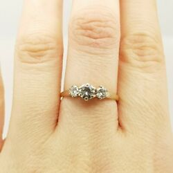 18ct Two Tone Gold Trilogy .71ct Tw Diamond Ring Val 4115 Size O 14199