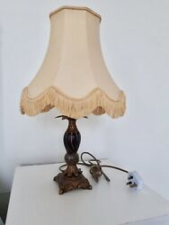 Vintage / Retro Table Lamp Light With Fringed Shade