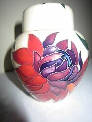 Moorcroft Ginger Jar, 1st Quality, Ruby Red Design By Emma Bossons, Perfect