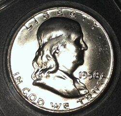 Immaculate High Mint Cond. 1958-d Full Bell Lines Franklin Silver Half 1/2