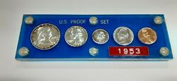 1953 United States Mint 5 Coin Proof Set In Blue Acrylic Holder 90 Silver F