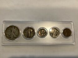 1929 Birth Year 5 Coin Set - 90 Silver Coins 3 Included - Circulated Set 2