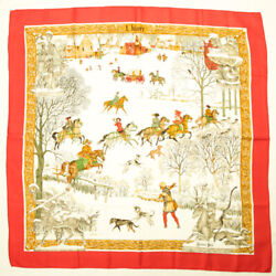 Hermes Scarf Carre 90 Silk L'hiver Snow Sled Horse Dog Large Size Shawl