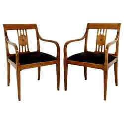 Modern Art Deco Style Pair Of Wood Lounge Accent Side Armchairs