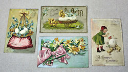 Four 4 Antique Embossed Easter Post Cards