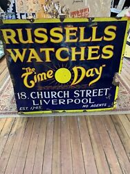 """Russells Watches """"the Time O Day"""" Large Porcelain Sign- Advertising-jb81"""