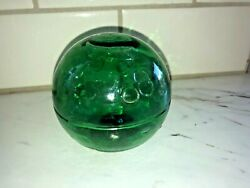 Antique Blown Green Glass Japanese Fishing Float Ball Marked 8 Iii 3 Tall