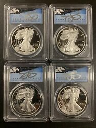 2015and2017and2018and2019 Pcgs Pr70 Blue Silver Eagle 4 Coins Set