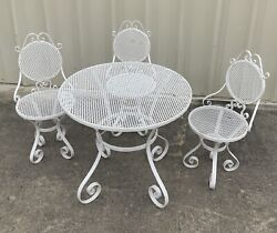 Whimwrought Iron Bistro Set Table And 3 Chairs Garden Antique Patio Furniture