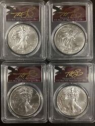 2021-s Pcgs Ms70 Silver Eagle T-1 Emergency Issue Fdoi Cleaveland 4 Coins Set