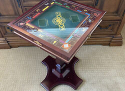Franklin Mint Monopoly W/table Stand Glass Cover Gold Plated Game Pieces And Cards