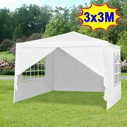 10and039 X 10and039 Outdoor Canopy Party Wedding Tent Gazebo Pavilion W/4 Side Walls White
