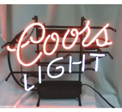 Vtg 1999 Coors Light Beer Sign Neon Lighted Bar Signs Brewing Coor's Man Cave