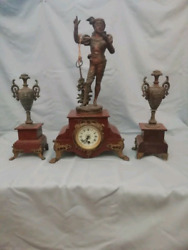 Bronze Antique Clock Marble From French Mantel Mantle Gilded Mercury 19th Old