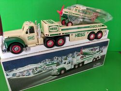 2002 Hess Gasoline Holiday Toy Truck With Airplane- Mint In Box- Cream Version