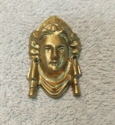 NOS Case Hardware For Antique American Clocks Lady#x27;s Head Brass Colored 2 1 4quot;