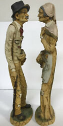 VINTAGE L. TONI SCULPTURED RESIN FIGURINES OLD MAN OLD WOMAN ITALY 20quot; Tall