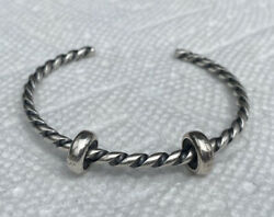Authentic Trollbeads Twisted Sterling Silver Bangle Xxs With 2 Spacers