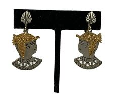 Vintage Signed Art Egyptian Revival Silhouette Clip Earrings Jewelry