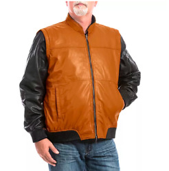 New Big And Tall Franchise Club 4-in-1 Lambskin Leather Bomber Jacket Mens 4xl