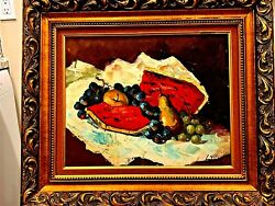 Vintage Hand Painted Oil On Canvas Still Life Fruit By Sir Matthew Smith Framed