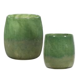 Pair Handcrafted Art Seeded Sage And Moss Green Glass Vases Uttermost 17845