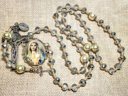 Vatican Style Diamond Silver Crystal Pearl Mary Cameo St. Benedict Charm Rosary