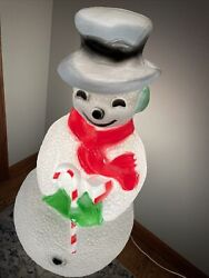 Vintage Lighted Snowman Blow Mold Christmas Outdoor Candy Cane