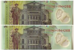 Two Same Serial Number 0644268 With Prefixes 162h 162j-100 Lei Romania 2005 Unc