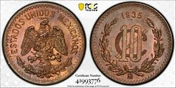 1935 Mexico 10 Centavos Pcgs Ms64 Bn Pop 9 2 Finer At Pcgs In Ms64 Brown