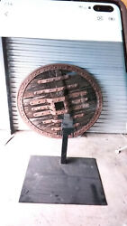 Antique Wooden Ox Cart Wheel On Iron Stand Rustic Decor C. Late 19th Cent. 2