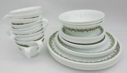 Lot Of 33 Pieces Corelle Green Spring Blossom Crazy Daisy Corning Dishes