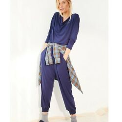 Nwt Saturday/sunday Dylan Cowl-neck Jumpsuit Navy Anthropologie