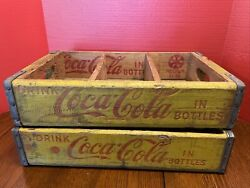 Lot Of 2 Vintage Coca-cola Wooden Crates Box Case Wood Yellow