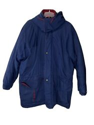 Weather Watcher Mens Winter Coat Insulated Size Large Oversized Blue Red Hooded