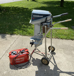 1986 9.9 Hp Evinrude E10rcdb Outboard Motor With Stand Gas Tank Fuel Line