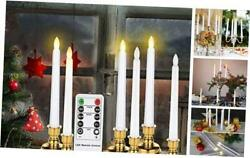 7.9 Inch Flameless Taper Window Candles With Remote Timers 6 Packs Gold