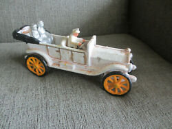 Early 1900s Style Cast Iron Toys Convertible Phaeton Roadster Toy Car W 3 People