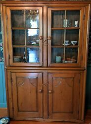 Vintage Solid Wood Curio / China Cabinet Modern Style Four Doors Window Panes
