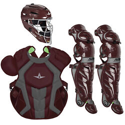 All-star System7 Axis Nocsae Adult Baseball Catcherand039s Package - Maroon