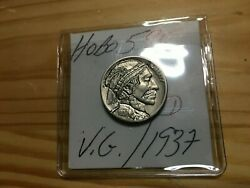 HOBO595 1937 D Hobo Nickel quot;Feathered Hat Manquot; MAB Buy It Now Free Shipping $21.95