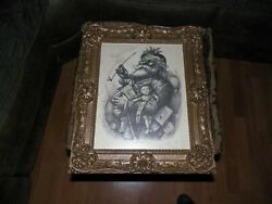 Merry Old Santa Claus Signed By Thomas Nast Print On Paper13x10frame18.5x16