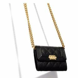 Boy Chain Wallet Coin Purse 911cm Black Leather +guarantee Card Unused