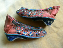 Antique Chinese Lotus Shoes Foot Binding Embroidered Butterfly Silk 10cm Small