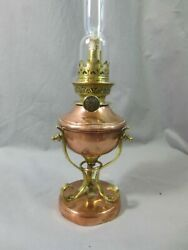 Antique Victorian Small Arts And Crafts Copper And Brass Oil Lamp Was Benson Type