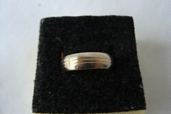 Vintage Solid 14k Yellow And White Gold Size 7.75 Wedding Band 6mm 5.9 Grams